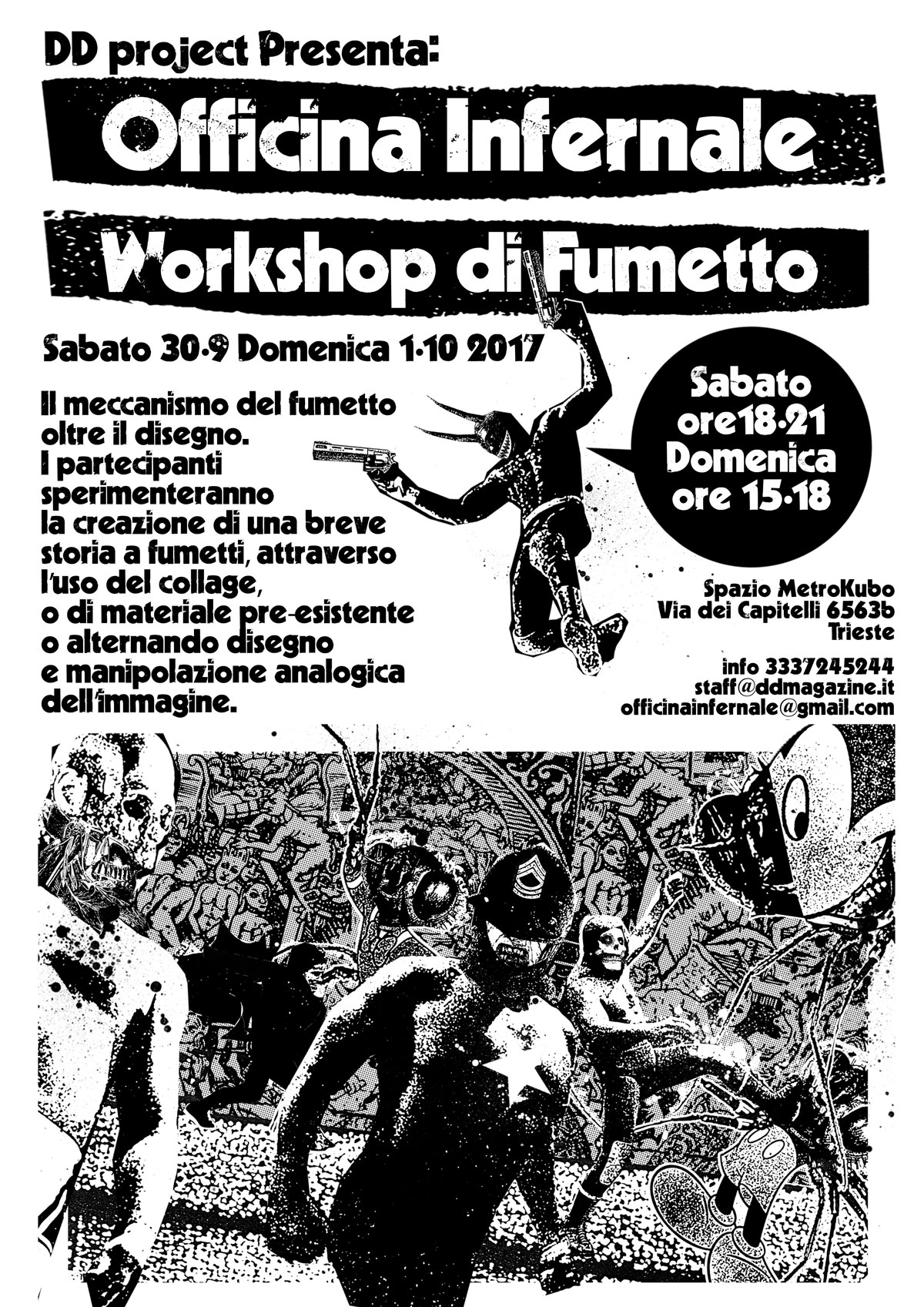 OFFICINA INFERNALE  WORKSHOP DI FUMETTO  30/9 –  1/10 – 2017